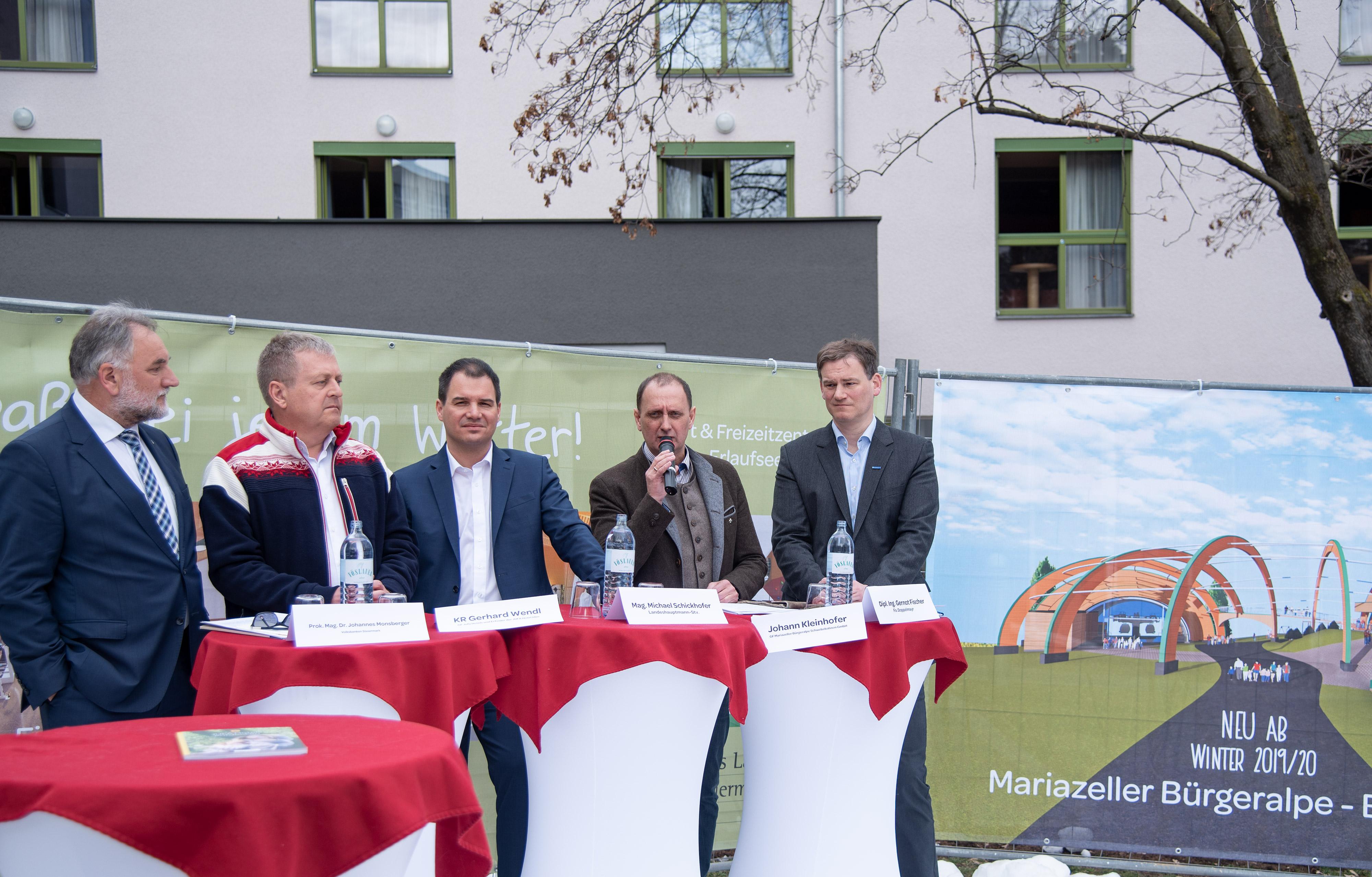 Pressekonferenz Bürgeralpe v.l.n.r.: Johannes Monsberger, Gerhard Wendl, Michael Schickhofer, Johann Kleinhofer, Gernot Fischer © Aldin Bektaš, Land Steiermark