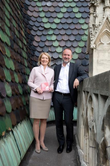 Tag des Denkmals 2016, Prof. Dr. Barabara Neubauer mit Mag. Thomas Drozda, Bundesminister für Kunst und Kultur, Verfassung und Medien, am Dach des Stephansdoms