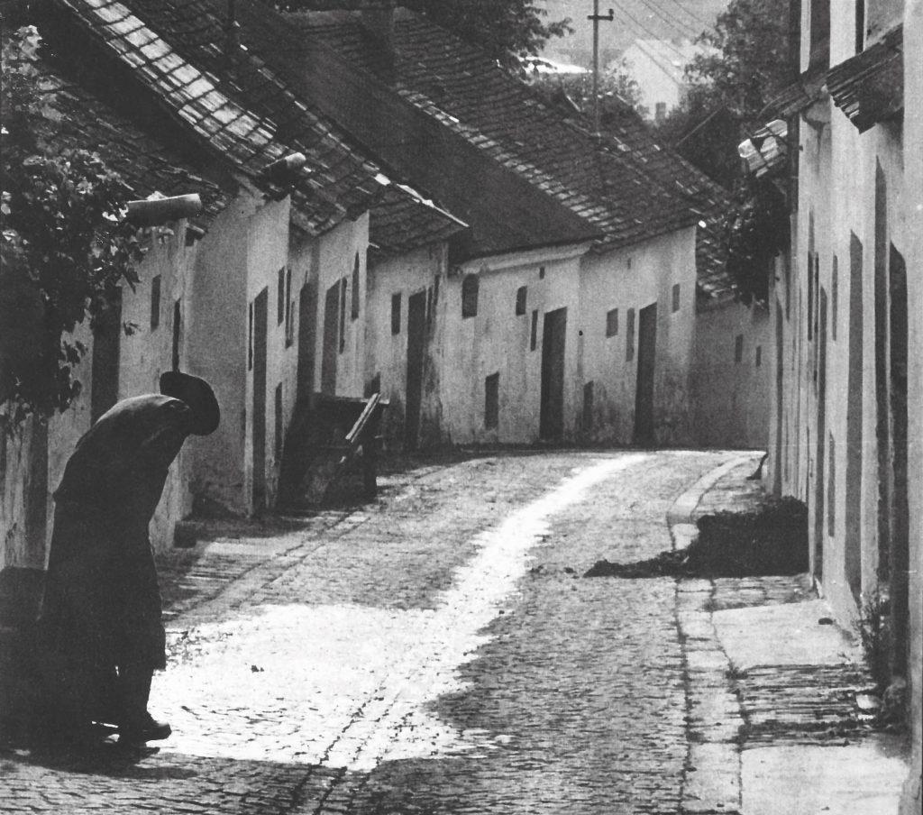 Pressebild Vino Versum Poysdor - Historische Ansicht der Kellergasse Bürsting in Poysdorf, 1970er Jahre © P. Kenyeres